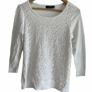 White Crochet Lace Floral Sweater Blouse